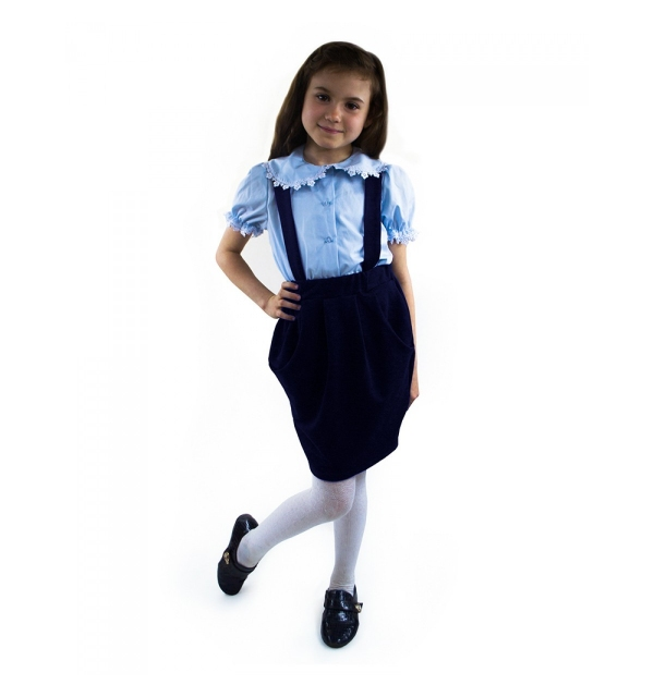 """Юбка на бретелях """"Алиса"""" тёмно-синяя"""