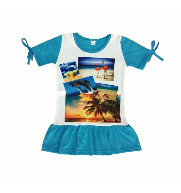Платье 3D/короткий рукав (Море)