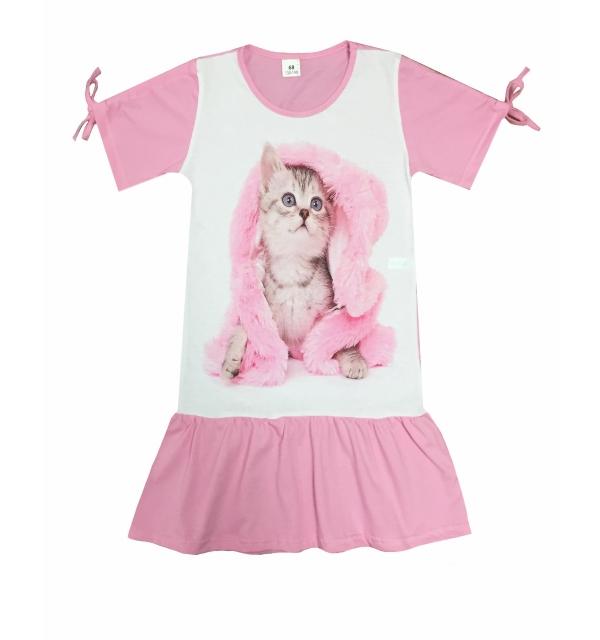 Платье 3D/короткий рукав (Котенок в розовом)