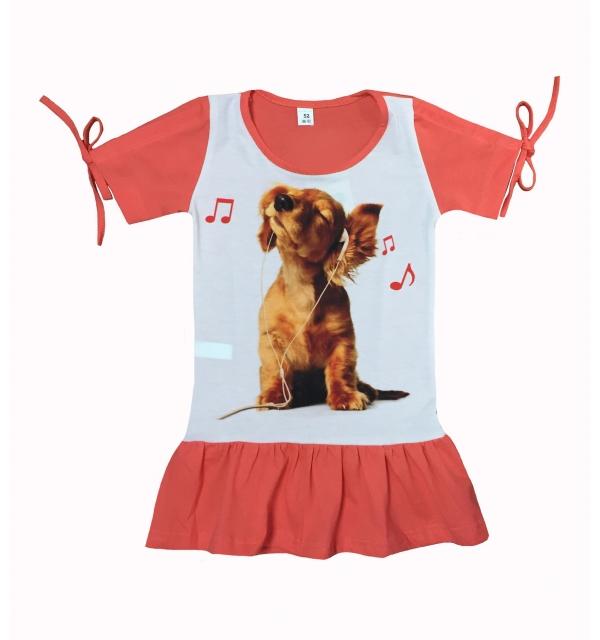 Платье 3D/короткий рукав (Собачка в наушниках)
