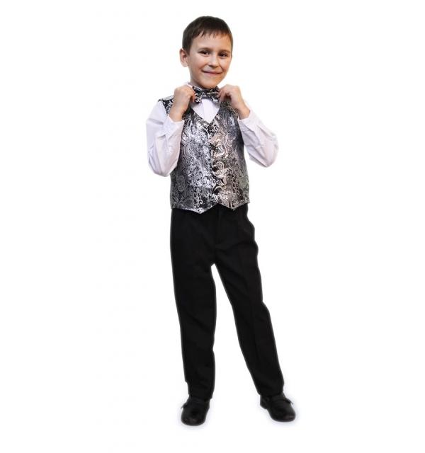 Жилет на мальчика парча (цвет темное серебро)