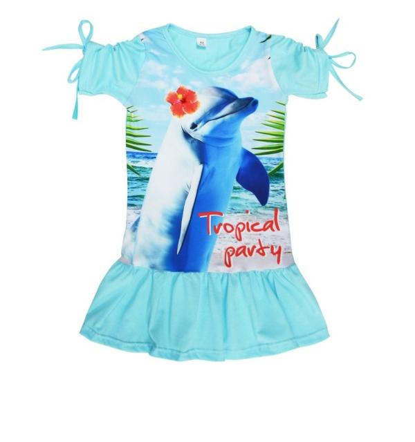 Платье 3D/короткий рукав (Дельфин)